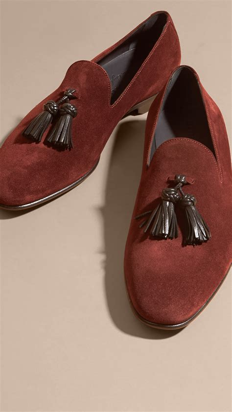 whole cut loafers burberry whole cut suede tassel loafers aubergine for
