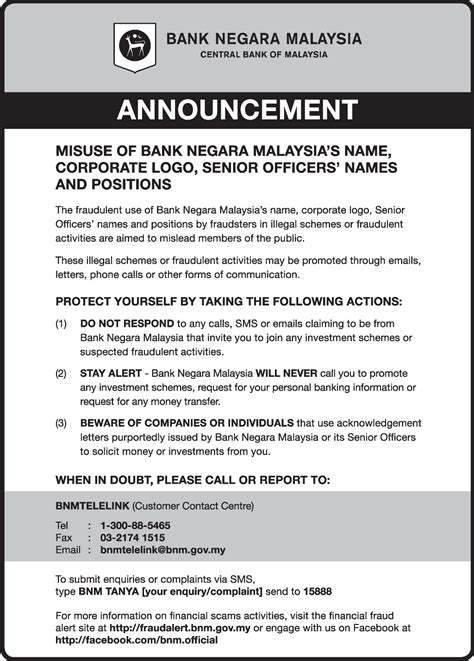 Bank Letter Tamil Notice On The Misuse Of Bank Negara Malaysias Name Corporate Logo Senior Officers Names And