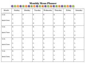 Monthly Food Menu Template by 6 Best Images Of Monthly Planner Printable Free