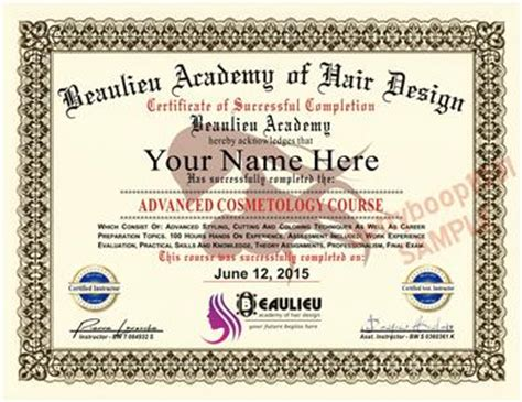 hair design certificate diploma hair design academy course certificate cosmetics