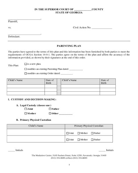2018 Parenting Plan Form Fillable Printable Pdf Forms Handypdf Montana Parenting Plan Template