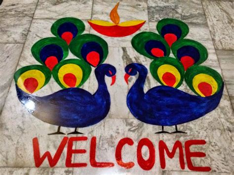 Home Decoration In Diwali by Top 50 Latest Best Beautiful Easy Peacock Rangoli Design