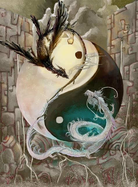 yin yang dragons by falynevarger on deviantart