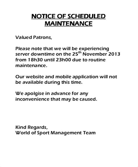system maintenance notification template 8 maintenance notice templates free sle exle