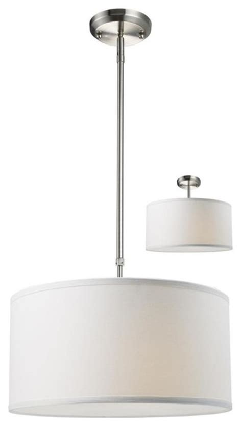 Modern White Nickel Drum Shade 3 Light Brushed Nickel Pendant White Linen Drum Shade