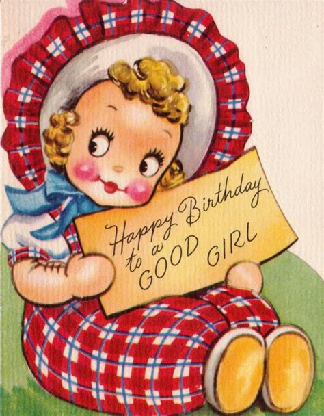 vintage  happy birthday   good girl  card