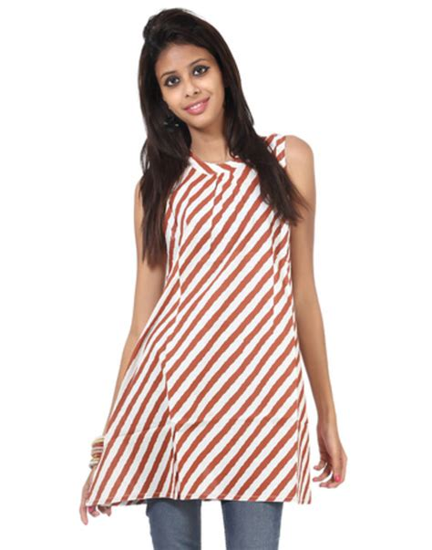 kurti pattern free buy white striped pattern cotton printed women kurti online