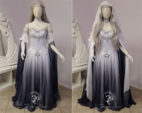 Dress Elven silver shadow elven gown sleeve view by firefly path on