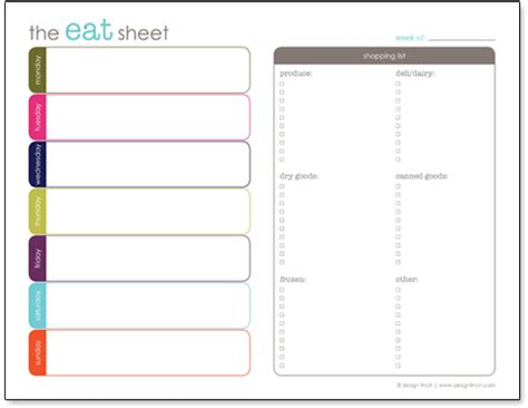 printable menu templates planner 6 best images of menu shopping list printable free
