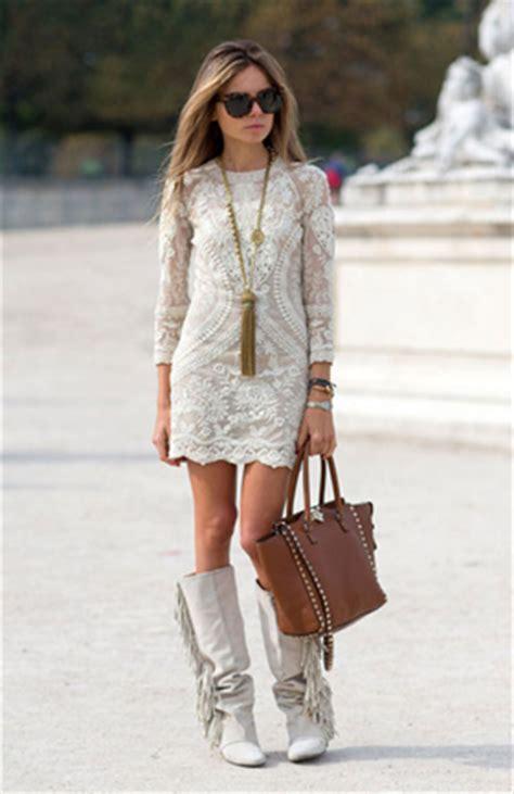 white lace mini dress  fringe boots pictures