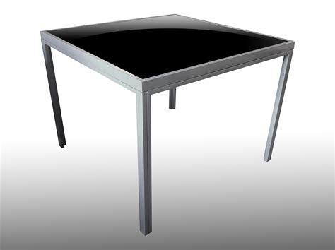 Garden Patio Square Table Grey Silver Frame With A Black Glass Patio Table