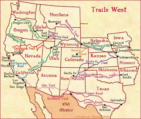 western map trails west a map of early western migration trails
