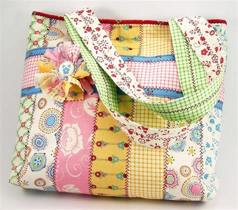 patterns tote bags sewing jelly roll tote bag sewing pattern with fabric flower brooch