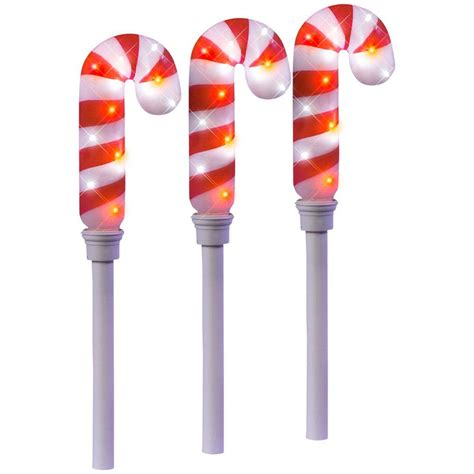led candy cane path lights lightshow 21 26 in sparkle candy cane pathway stakes set