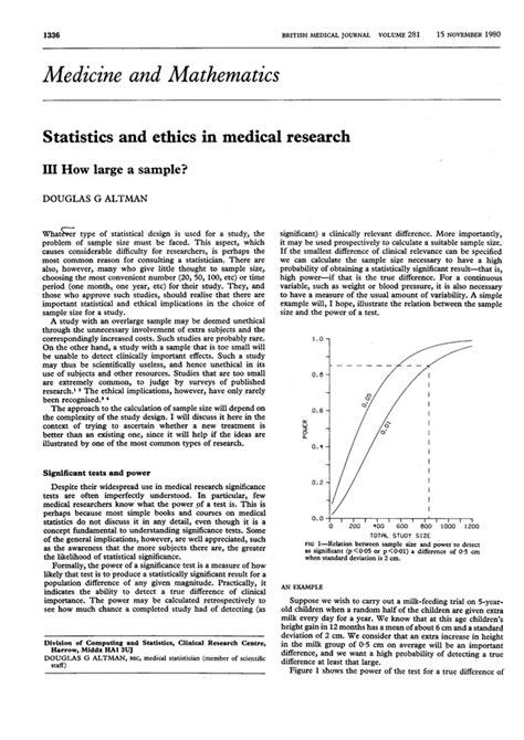 Bmj Research Letter Statistics And Ethics In Research Iii How Large A Sle The Bmj