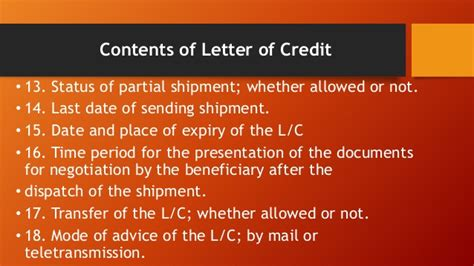 Letter Of Credit Expiry Date letter of credit