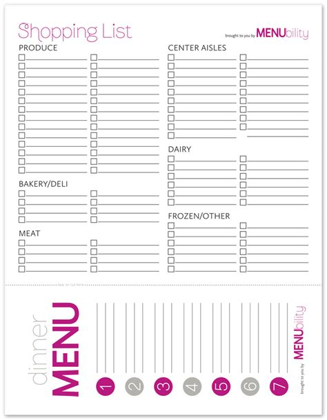 printable grocery list with menu how to plan family meals menubility