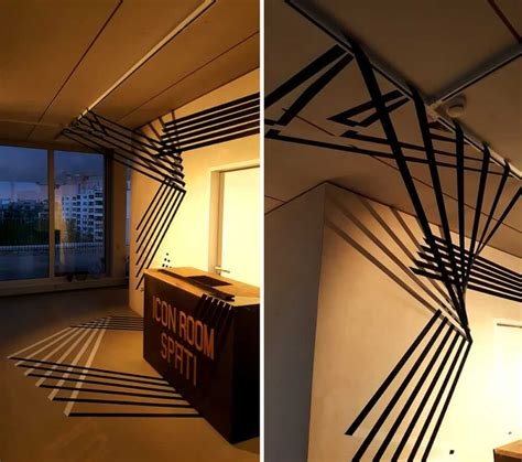dimensional abstract duct tape lines installation