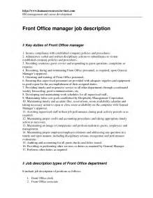 front office manager resume sle kfc description resume ebook database
