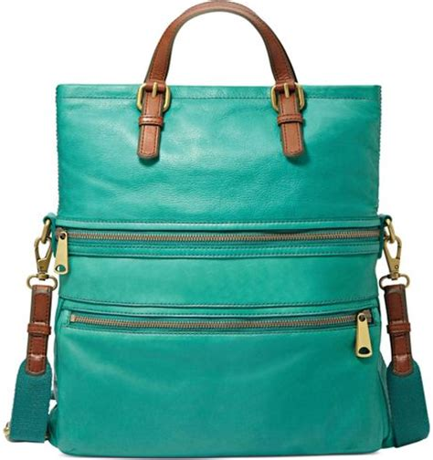 Fossil Tote Teal Green fossil explorer leather tote in green teal lyst