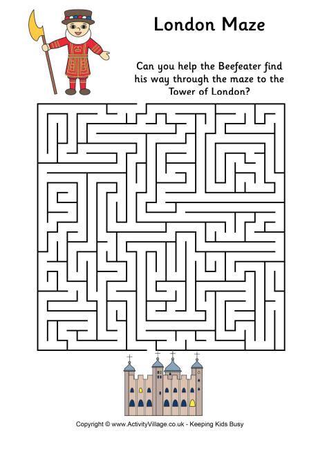 printable london puzzle london maze difficult work pinterest maze fun