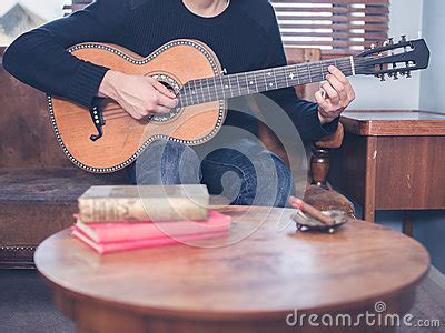 Guitar Coffee Table Book Guitar At Home Stock Photo Image 52019829