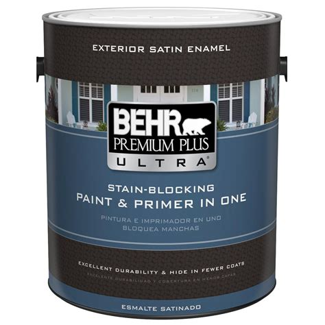 behr premium plus ultra 1 gal ultra white satin enamel exterior paint 985001 the home depot
