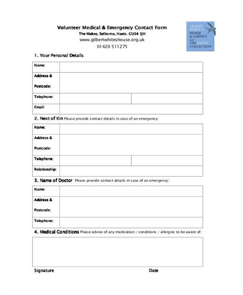 34 Emergency Contact Forms Volunteer Contact Form Template