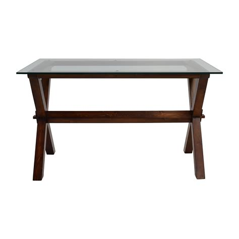 pottery barn desk l glass and wood desk best home design 2018