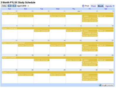 bar schedule template free bar review study schedule templates