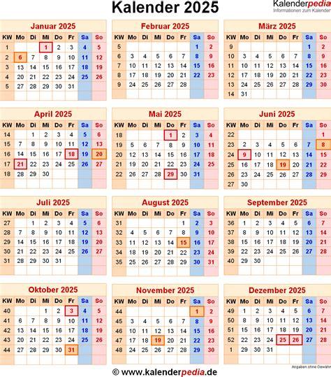 Kalender Mit Kw Und Feiertagen Kalender 2025 Mit Feiertagen Und Kalenderwochen