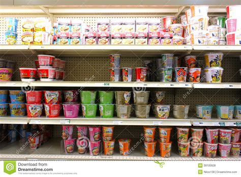 grocery store shelves instant noodles on supermarket shelves editorial photo
