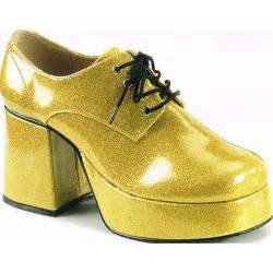 70 s disco mens gold platform shoes in size l 12 13 on