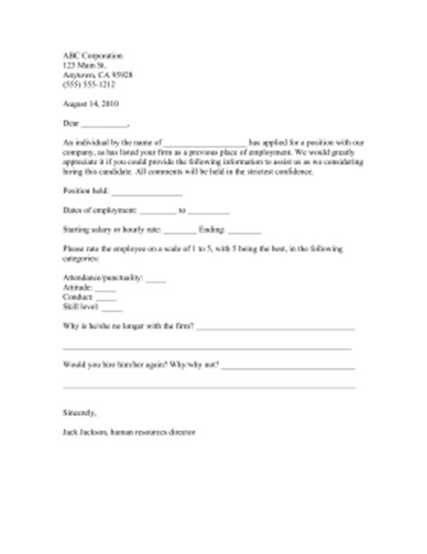 Reference Request Letter For New Employee Sle Personal Reference Check Forms Small Business Free Forms