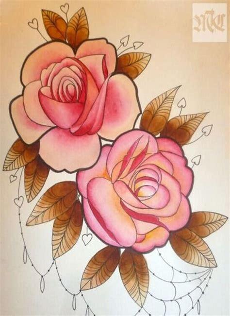 玫瑰花纹身手稿图案