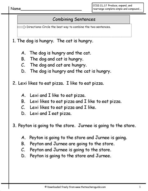 Sentence Combining Worksheet by Sentences Worksheets From The S Guide