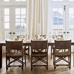 Beachy Dining Room Tables by Rattan Dining Chairs Cottage Dining Room Coastal Living