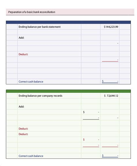 Free Bank Statement Templates 10 Balance Excel Word Template Section Balance Bank Account Template
