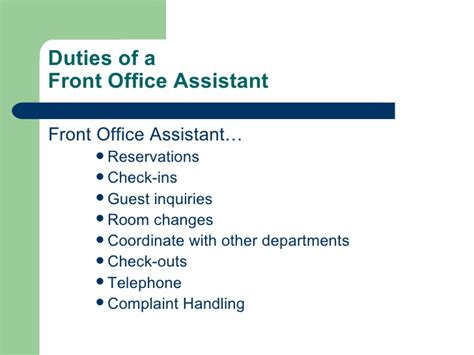 Introduction To Hotel Front Office Duties Of Front Desk Officer