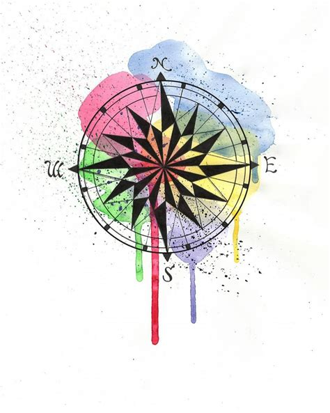 watercolor compass tattoo watercolor images designs