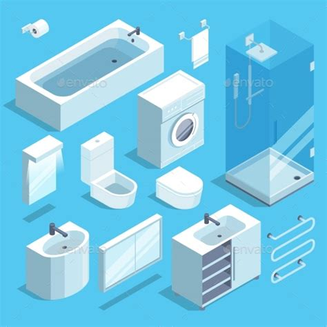 Elements Bathroom Furniture Isometric Furniture Elements Set Of Bathroom By Onyxprj Graphicriver