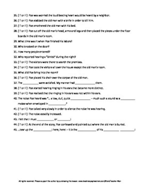 edgar allan poe biography worksheet answers tell tale heart worksheets calleveryonedaveday