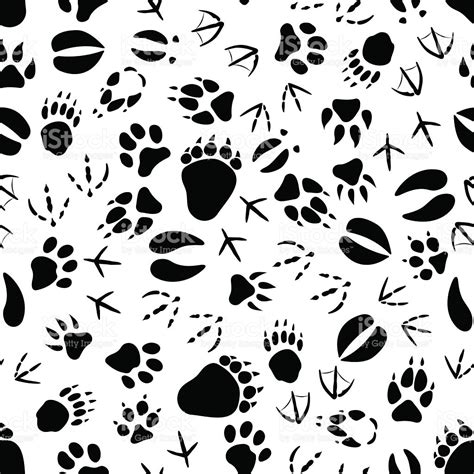 wedding background tracks black and white animal tracks pattern stock vector