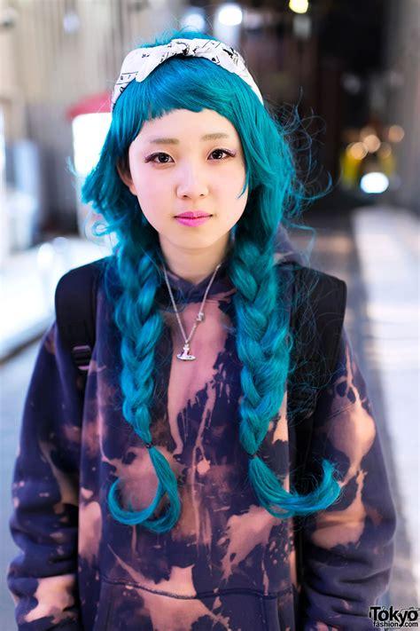 hair by tokyo bleached hoodie aqua braids thigh highs dr martens in