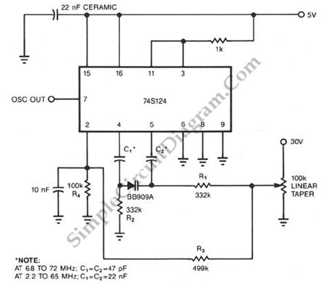 varactor oscillator circuit 74s124 high frequency vco with varactor simple circuit diagram