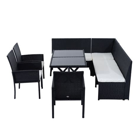 Dining Table With Sofa Chairs Outsunny 7pcs Outdoor Rattan Wicker Sofa Garden Sectional Patio Furniture Set Chairs And