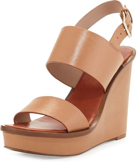 burch leather wedge sandal blush burch zapatos