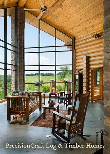 back view of this milled log home great room view custom milled log home by precisioncra