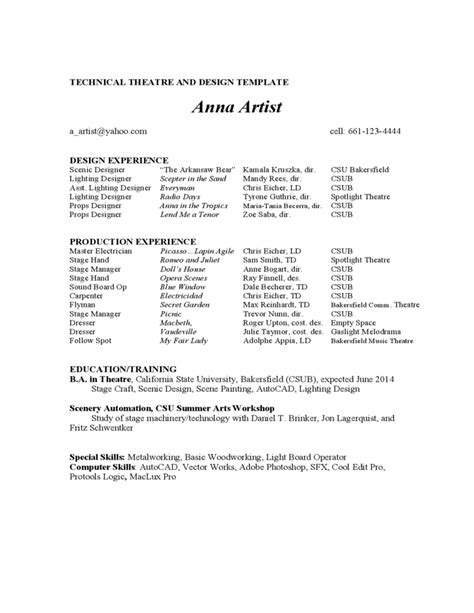 Theatre Acting Sle Resume by Acting Resume Exle Free