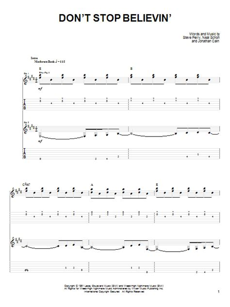 Guitar Chords For Don T Stop Believing
